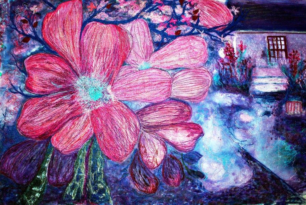 BarbaraHarmsFiberArtDogwood abstract#2