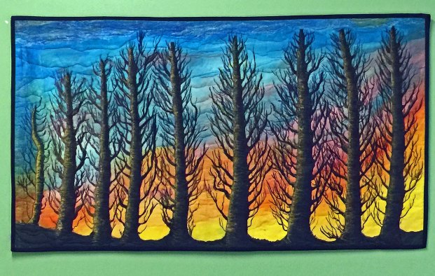 """60 mpn Sunset"" art quilt"
