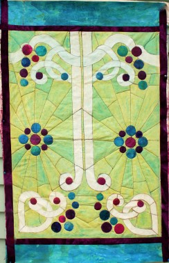 """A Stained Glass Window"""" art quilt"""
