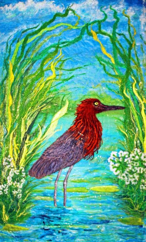 Red Egret Standing in Water. An original silk painted art quilt.