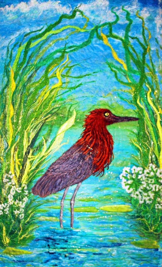 Red Egret Standing in Water. An original silk painted art quilt.
