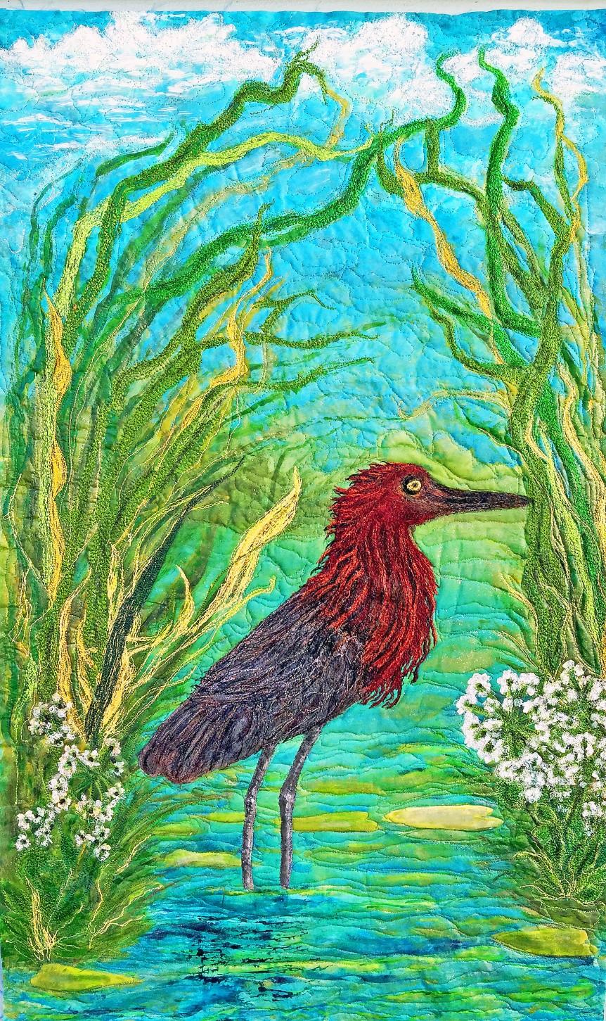 silk painted red egret Barbra Harms