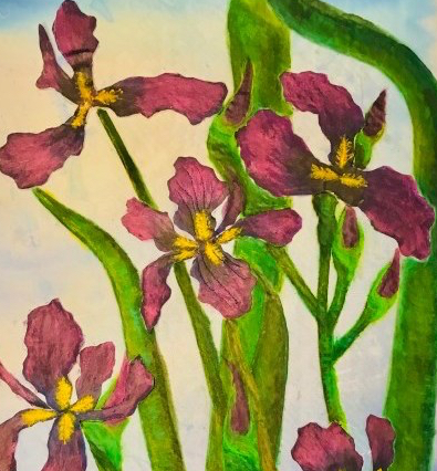 Barbara Harms Fiber Art Irises